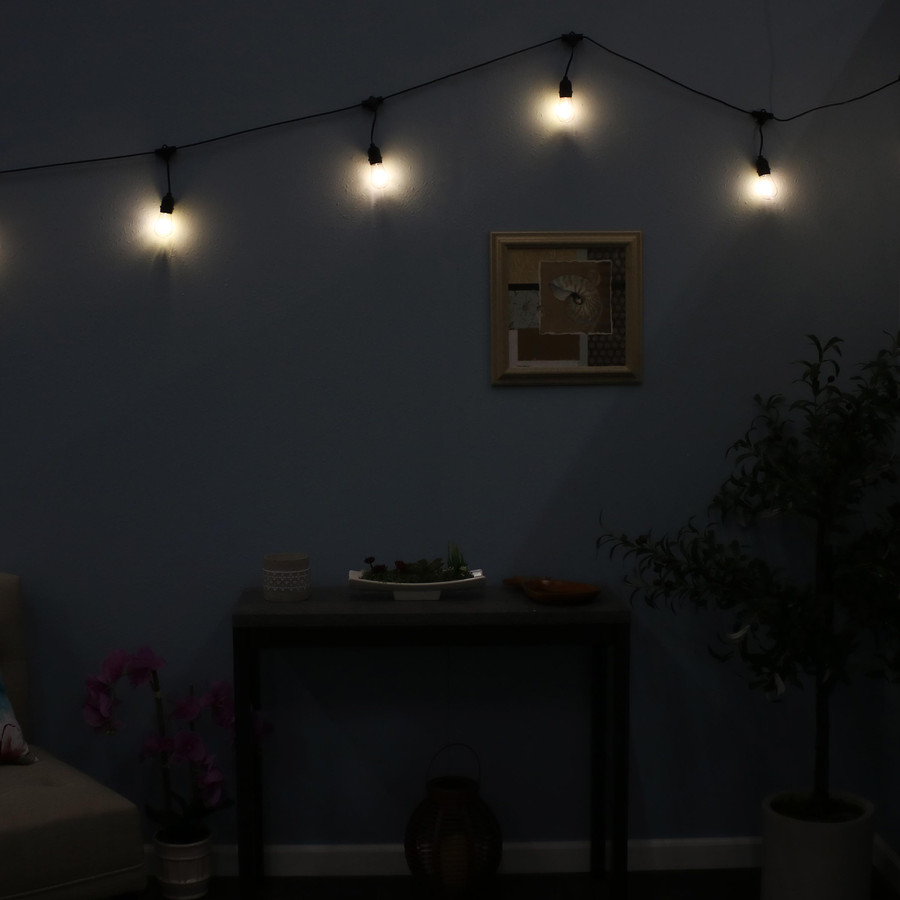 Indoor/Outdoor LED String Lights with 20 Oblong Edison Bulbs, Shown Indoors Nighttime