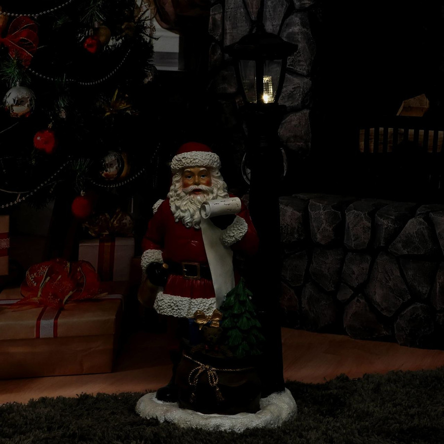 Santa Claus Checking His List Indoor Statue, Nighttime