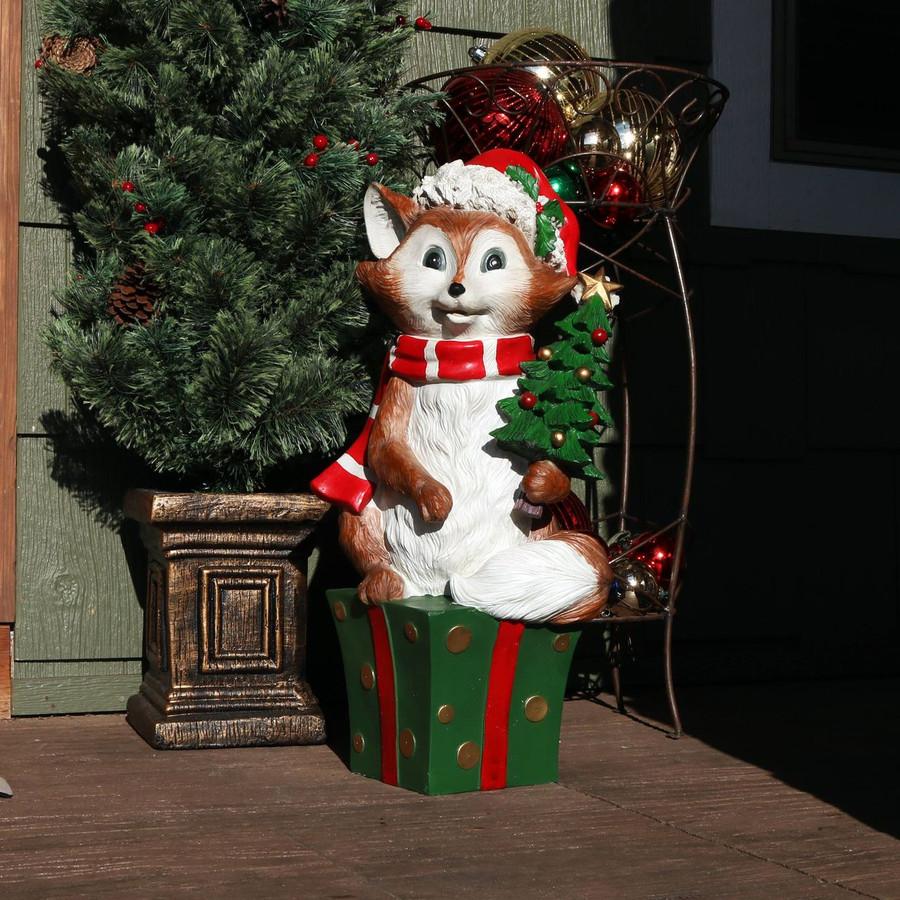 Sunnydaze Felix the Christmas Fox Indoor/Outdoor Christmas Decor, Polyresin, 24-Inch