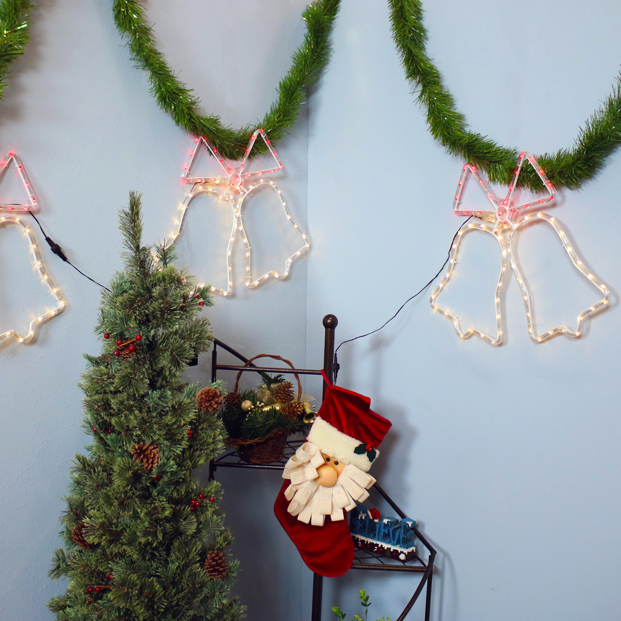 Prelit Multi-Color 3 Bells LED Rope Light Display, Indoors
