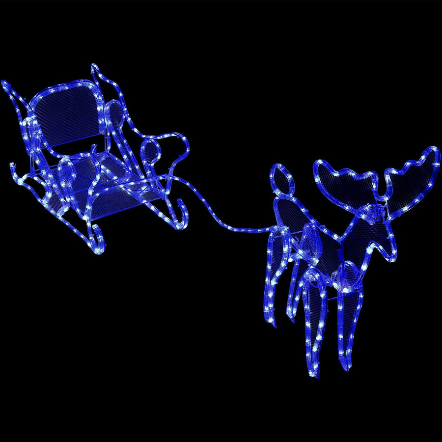 Sleigh with Reindeer Outdoor LED Light Display at Night
