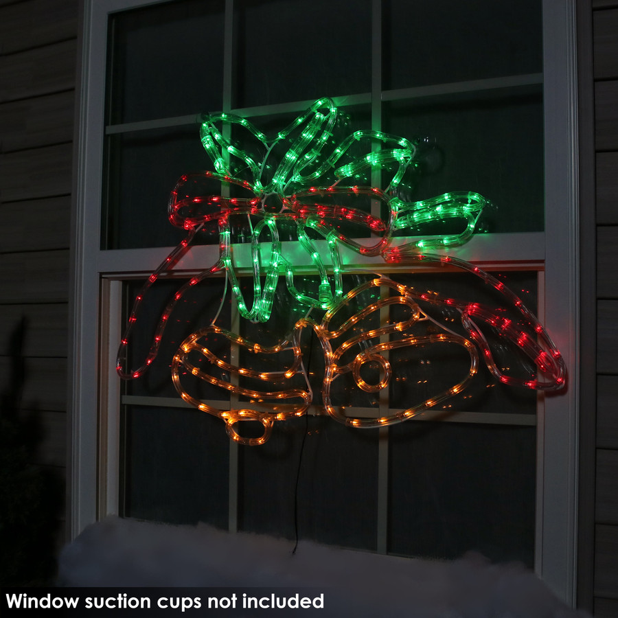 Double Bells Christmas LED Rope Window Light Display, Outdoors Nighttime