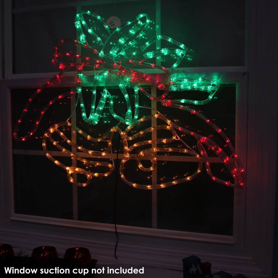 Double Bells Christmas LED Rope Window Light Display, Indoors Nighttime