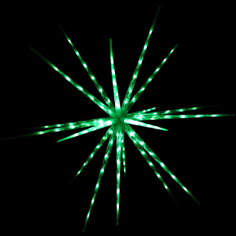 Prelit Color-Changing Christmas Holiday Hanging LED Starburst, Green