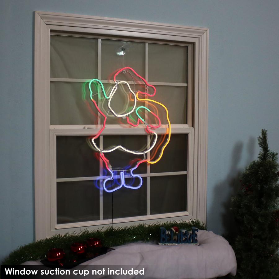 Multi-Color LED Santa Claus Decoration, Indoors at Night