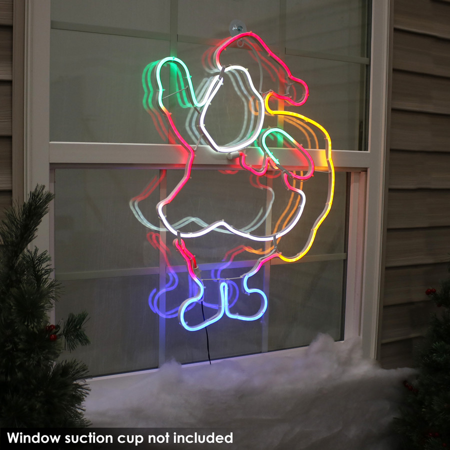 Multi-Color LED Santa Claus Decoration, Outdoors at Night