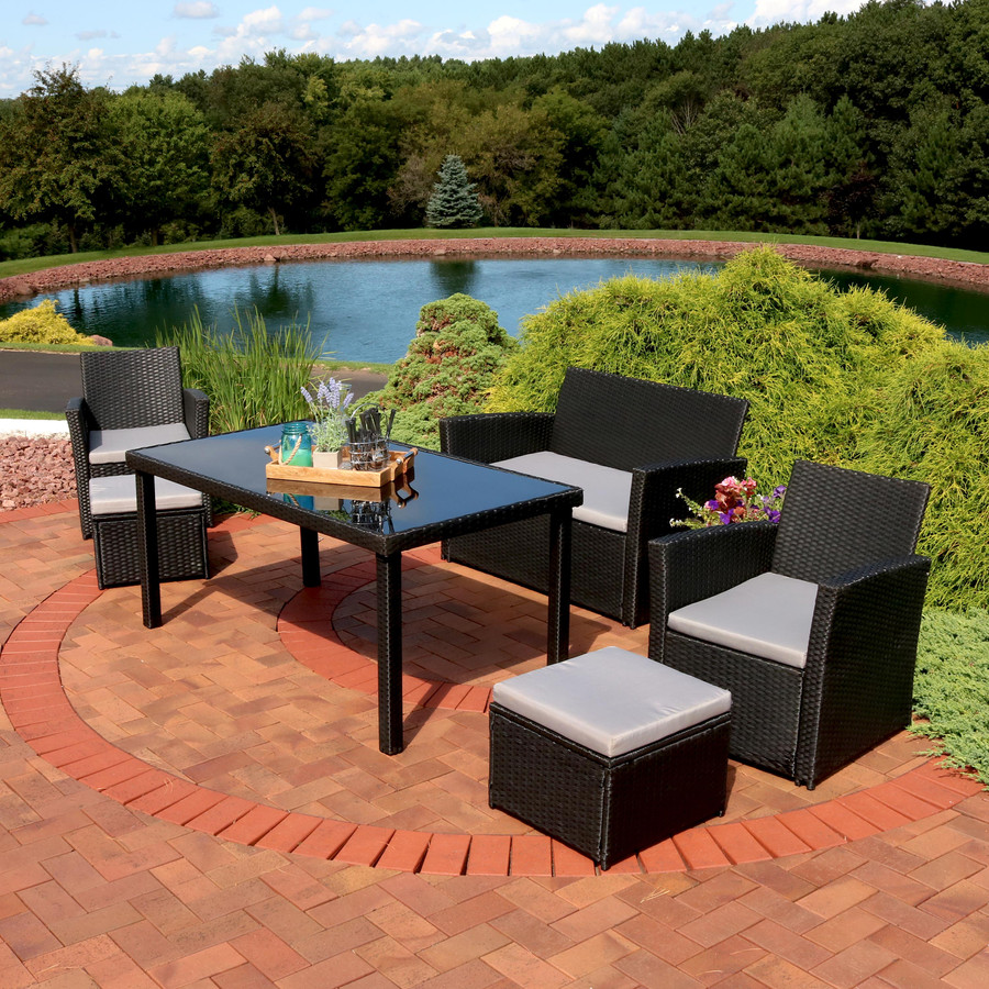 Limerick 6-Piece Rattan Patio Dining Furniture Set with Cushions