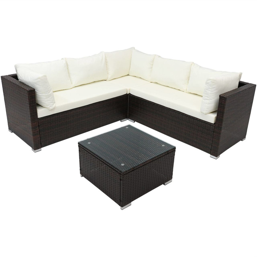 Port Laoise Rattan Sectional Sofa Patio Furniture Set with Cushions