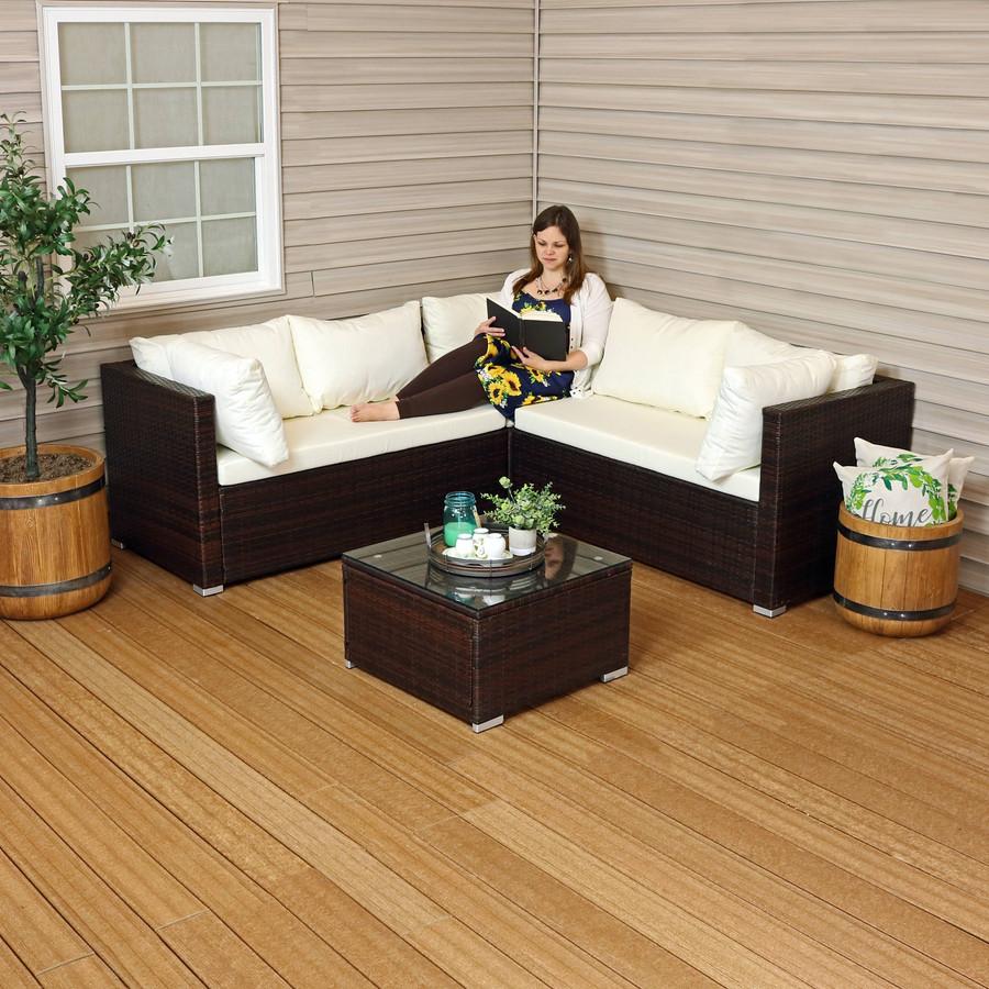 Sunnydaze Port Laoise Rattan Sectional Sofa Patio Furniture Set with Cushions