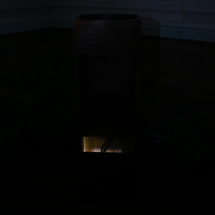 Tranquil Rain Shower Outdoor Water Fountain, Nighttime