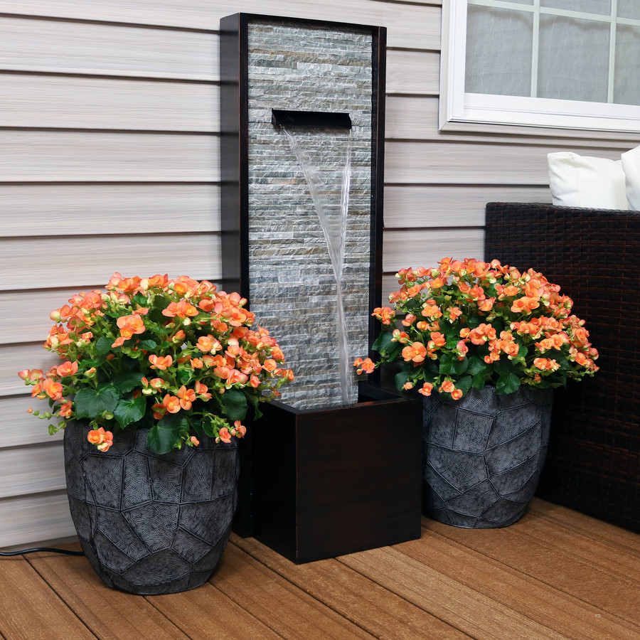 Cascading Ledgestone Slate and Metal Outdoor Water Fountain