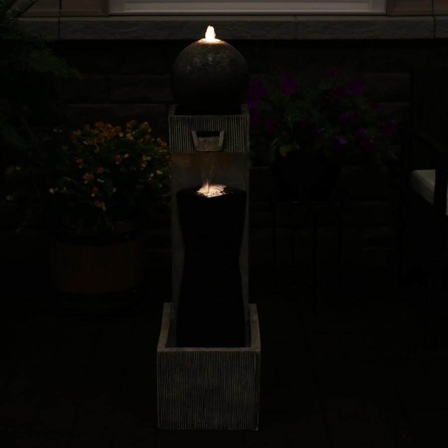 Modern Vogue Contemporary Outdoor Fountain, Nighttime