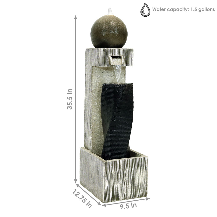 Sunnydaze Modern Vogue Contemporary Outdoor Fountain with LED Lights, 35-Inch