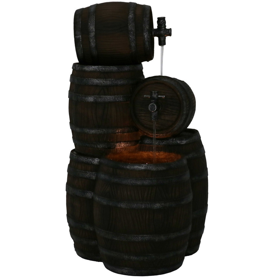 Stacked Rustic Cascading Whiskey Barrel Outdoor Water Fountain, Nighttime