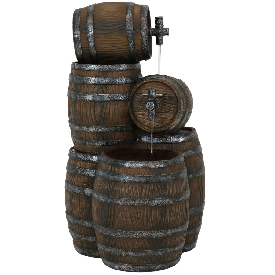Stacked Rustic Cascading Whiskey Barrel Outdoor Water Fountain