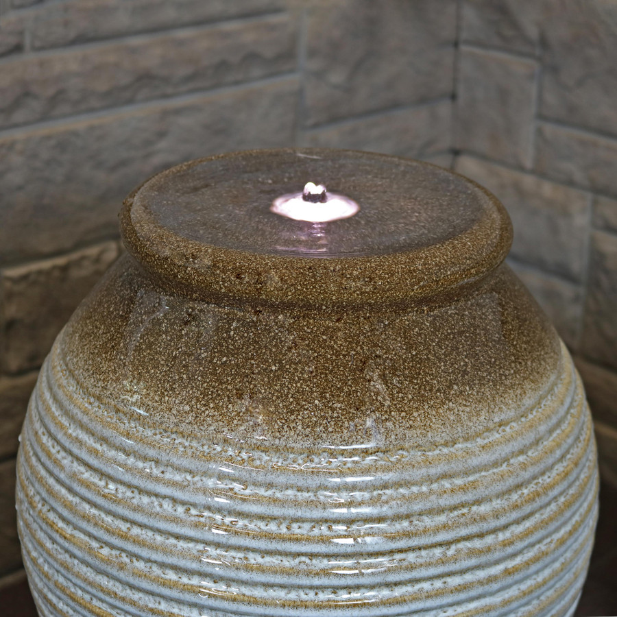 Bubbling Pottery Vase Outdoor Water Fountain with LED Lights