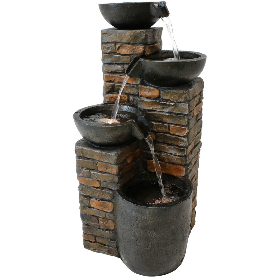 Staggered Cascading Pottery Bowls Tiered Outdoor Water Fountain