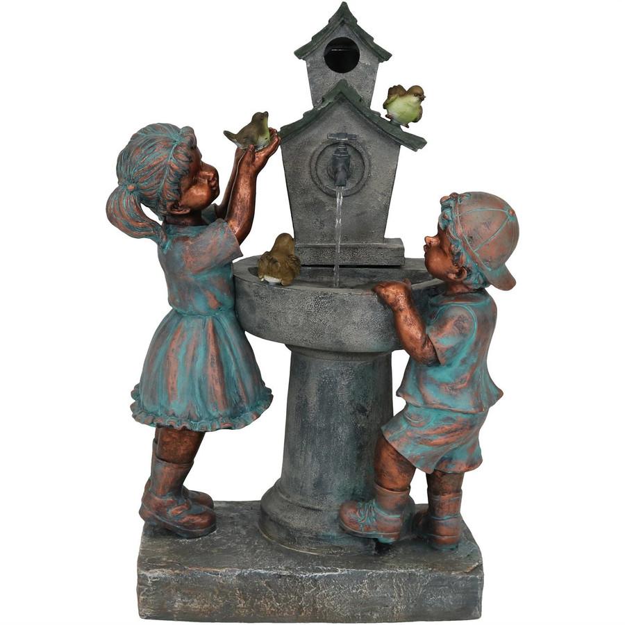 Boy and Girl with Birds at Birdbath Outdoor Water Fountain