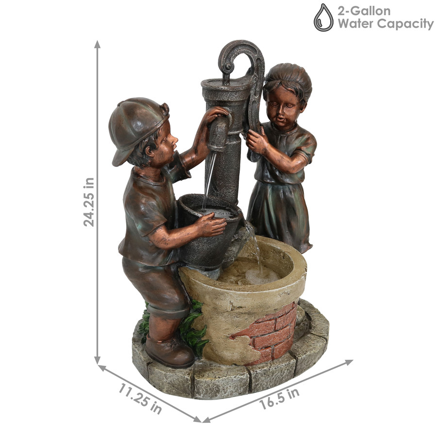 Sunnydaze Jack and Jill at Farmhouse Pump and Well Outdoor Water Fountain, 24-Inch