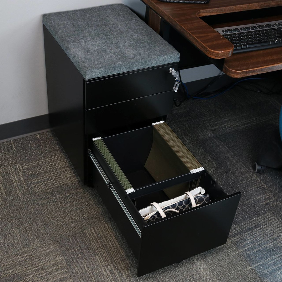 Black with Gray Cushion Bottom Drawer Open with Standard Hanging Folders