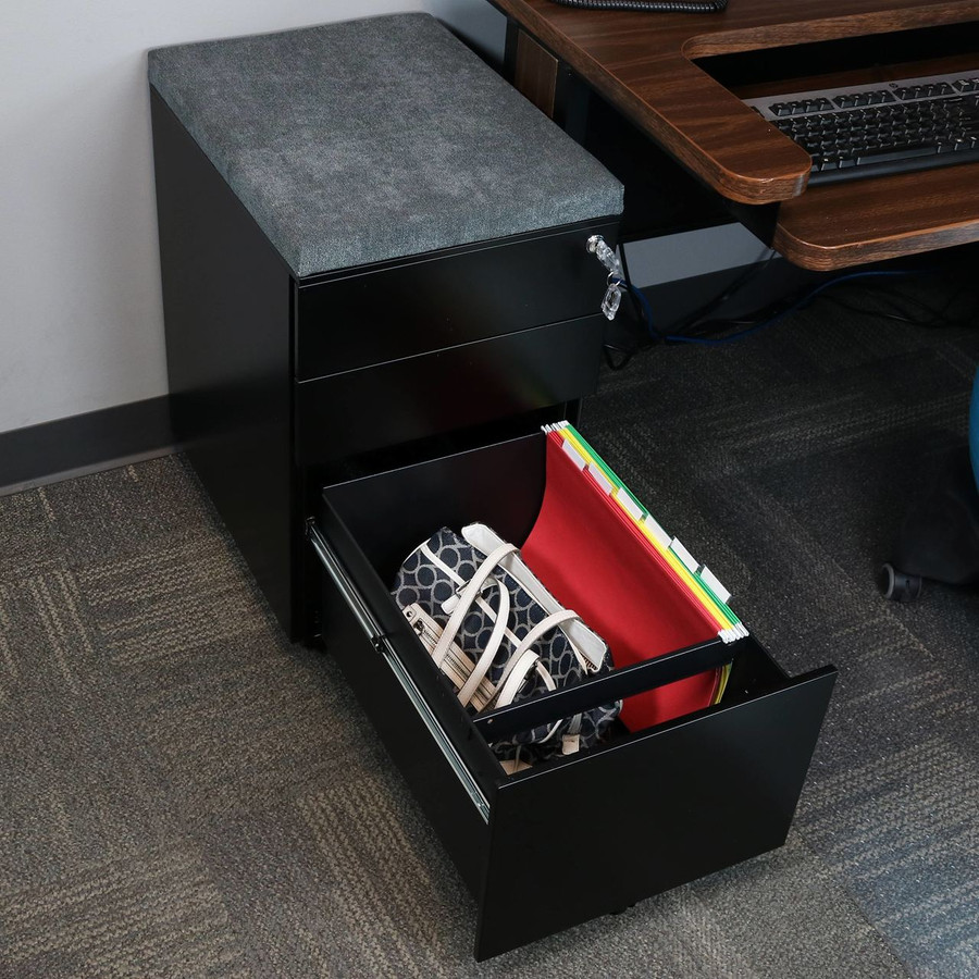 Black with Gray Cushion Bottom Drawer Open with Legal Hanging Folders
