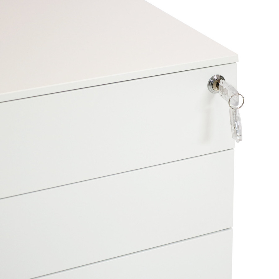 CASL Brands Rolling Mobile File Cabinet with Keyed Lock, Steel 3-Drawer Storage System