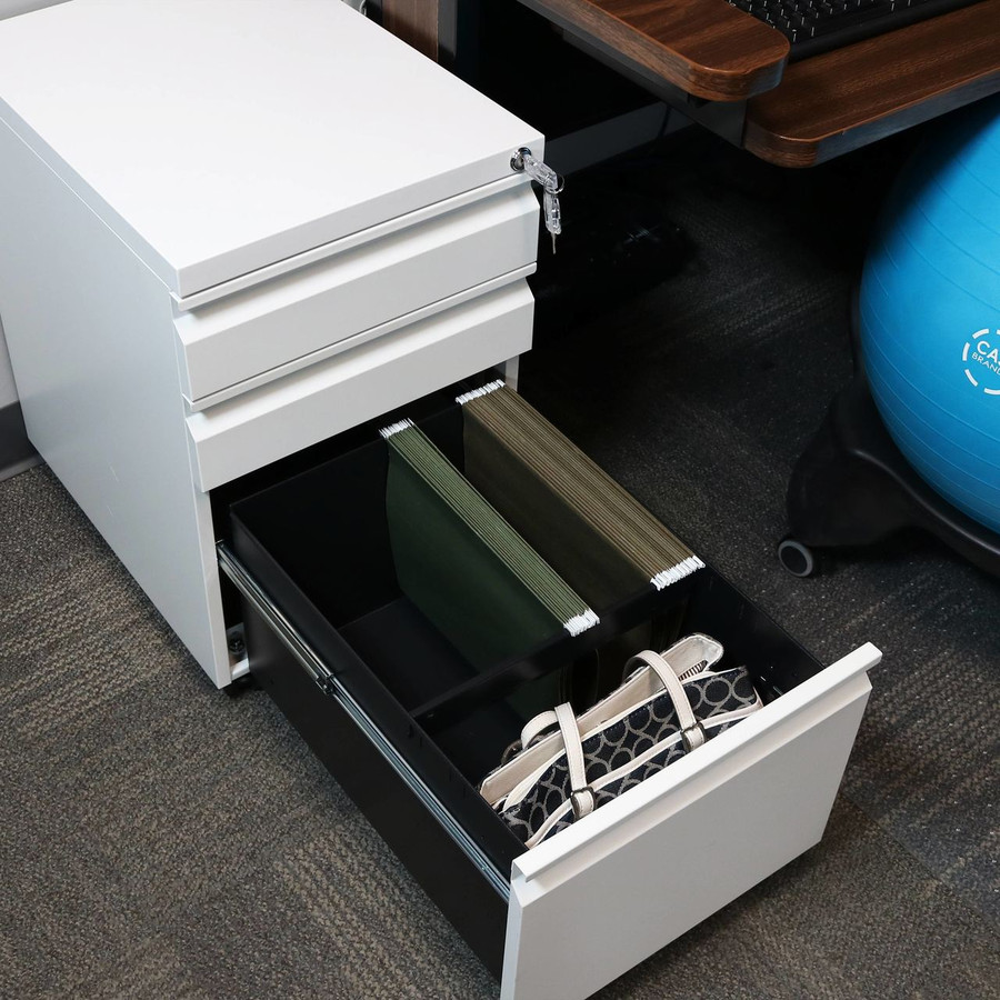 Closeup of Open Bottom Drawer with Standard Hanging File Folders