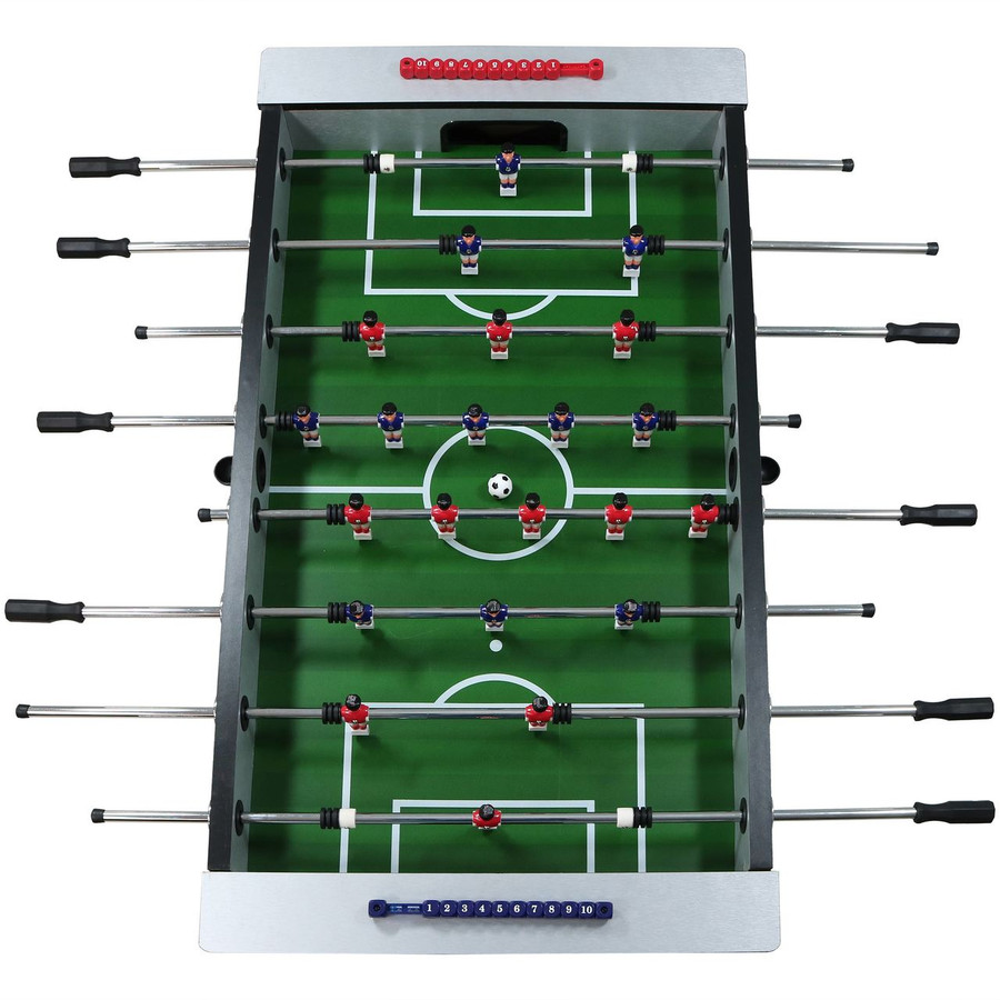 Overhead View of Metallic Foosball Table