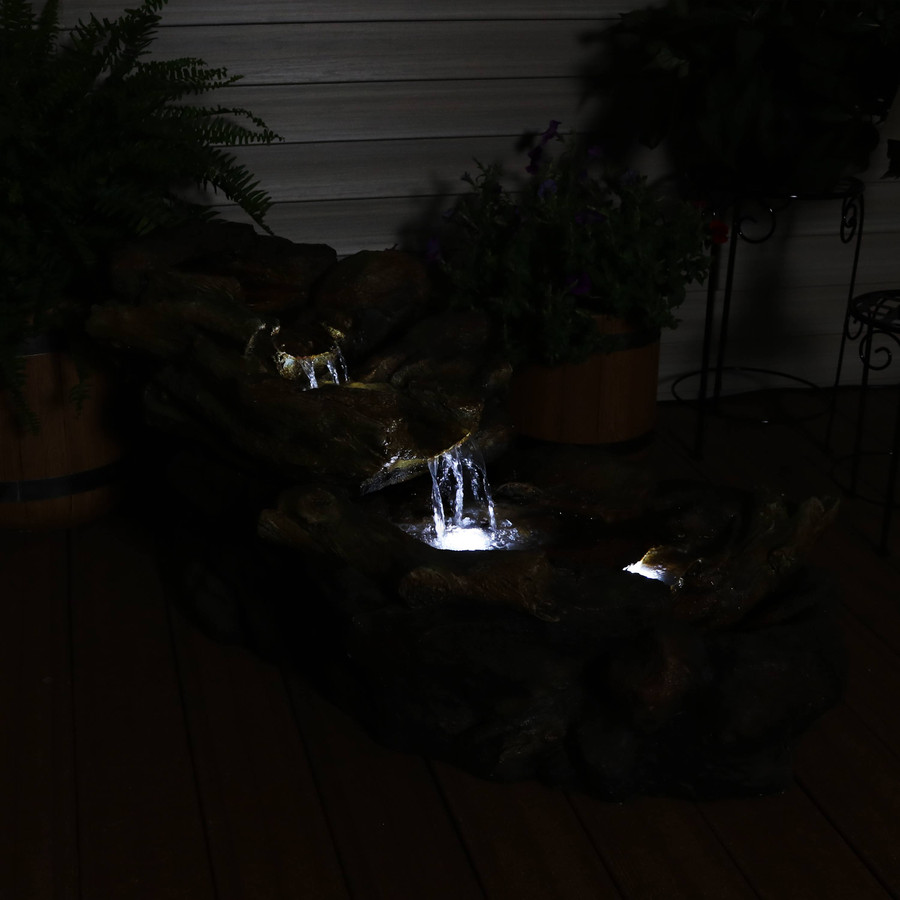 Rocky Falls Streaming River Outdoor Garden Water Fountain, Nighttime