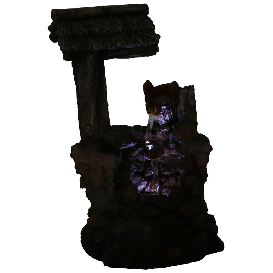 Mossy Country Well Indoor Tabletop Water Fountain, Nighttime View