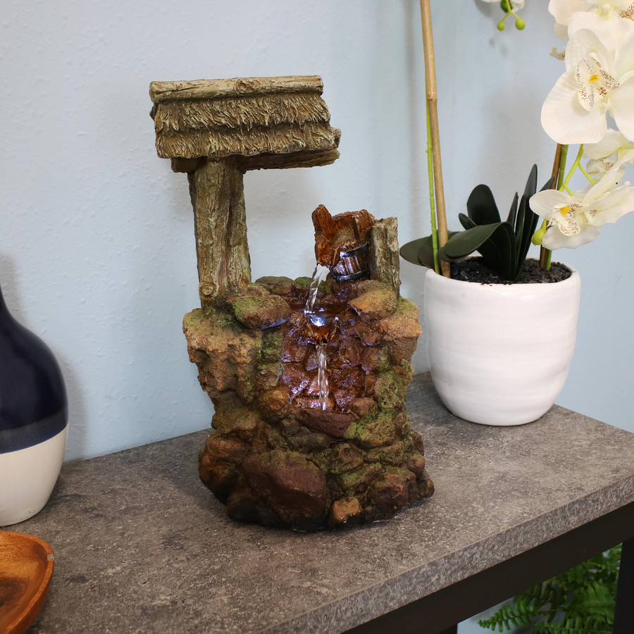 Mossy Country Well Indoor Tabletop Water Fountain