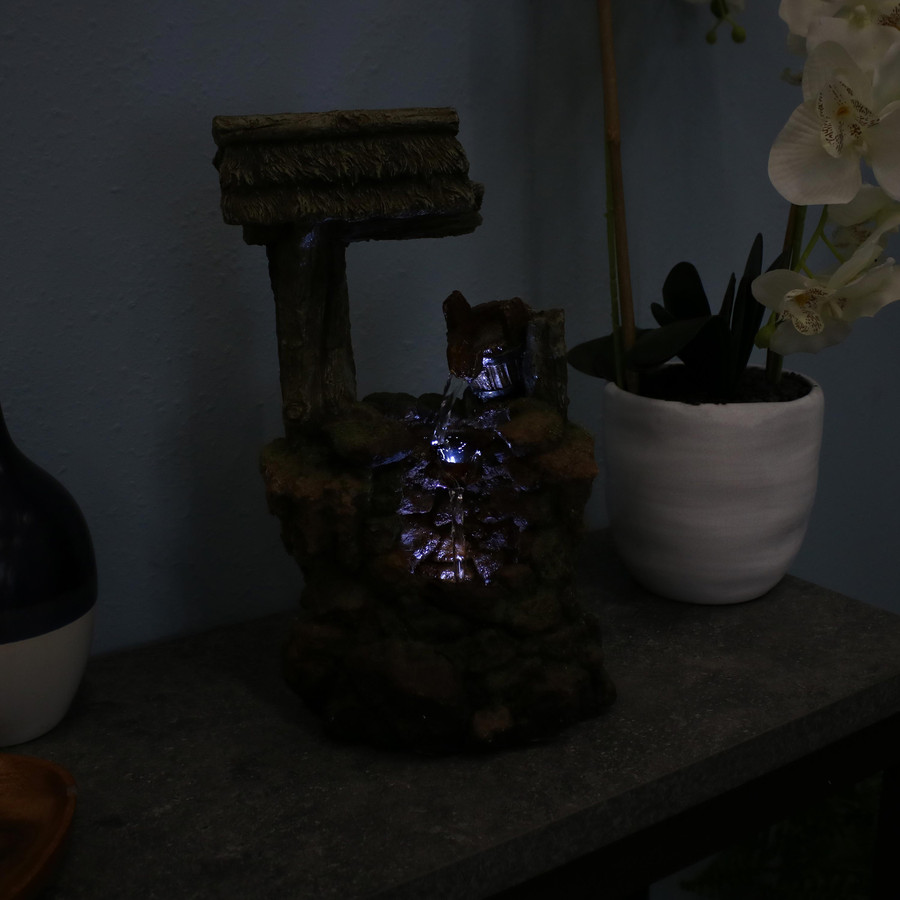 Mossy Country Well Indoor Tabletop Water Fountain, Nighttime