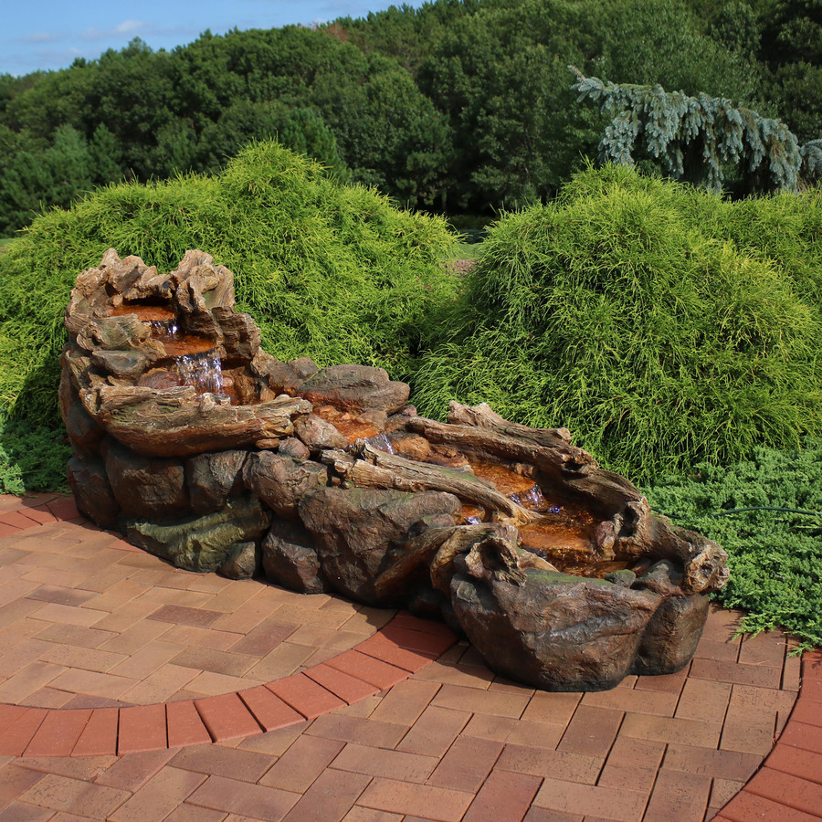 Flowing Driftwood Falls Outdoor Water Fountain