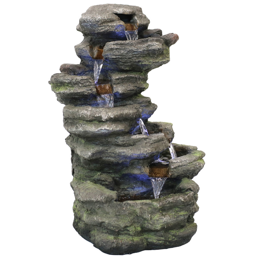 Stacked Rock Waterfall Outdoor Water Fountain