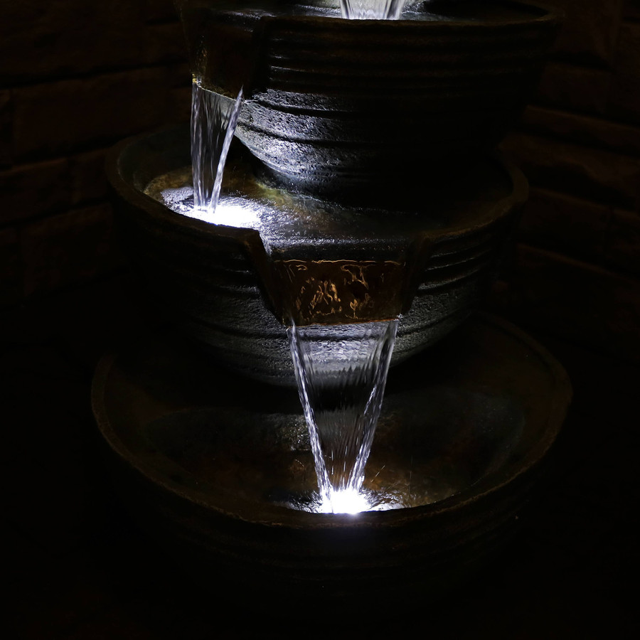 Closeup of Bottom Tiers of Fountain, Nighttime