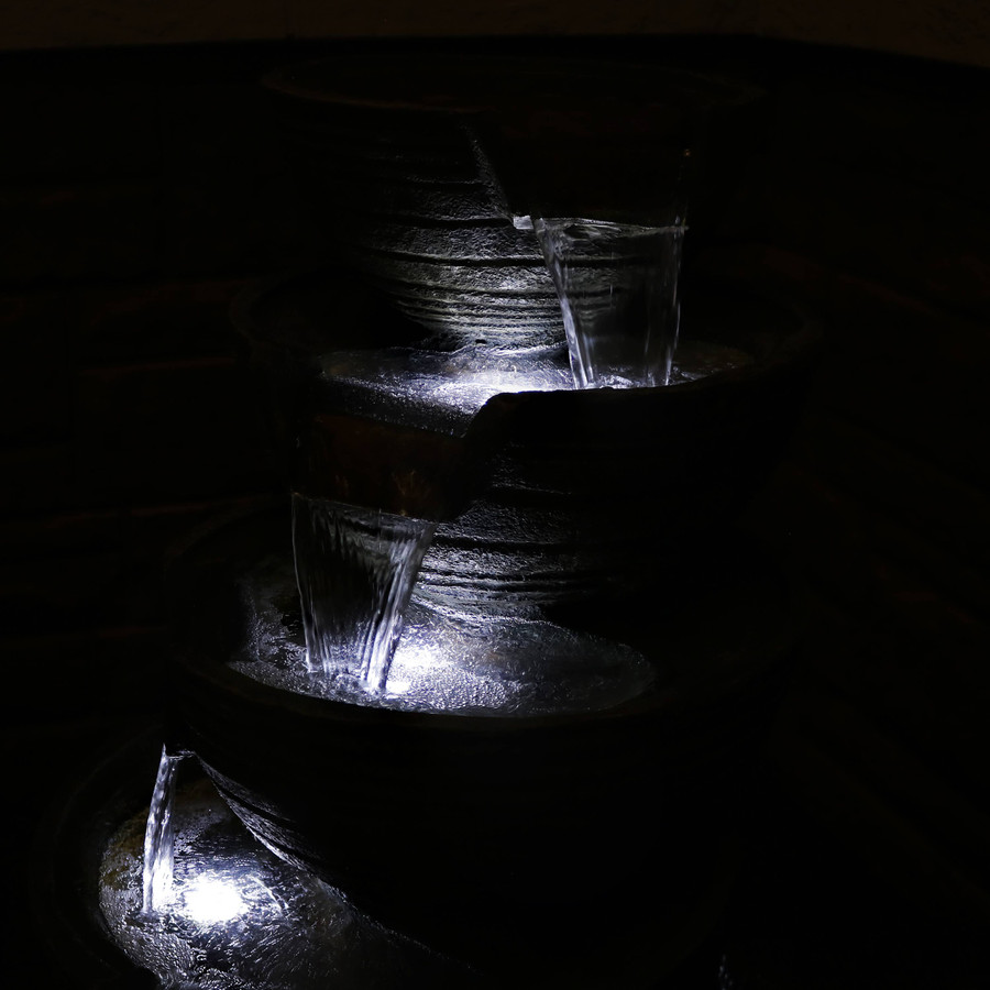 Closeup of Top Tiers of Fountain, Nighttime