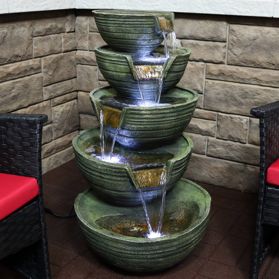 Flowing Tiered Artisan Bowls Outdoor Water Fountain with LED Lights