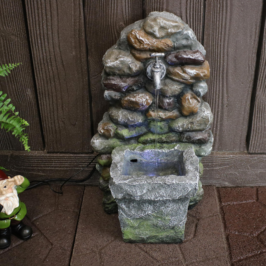 Rock Wall Outdoor Water Fountain with Basin and Spigot
