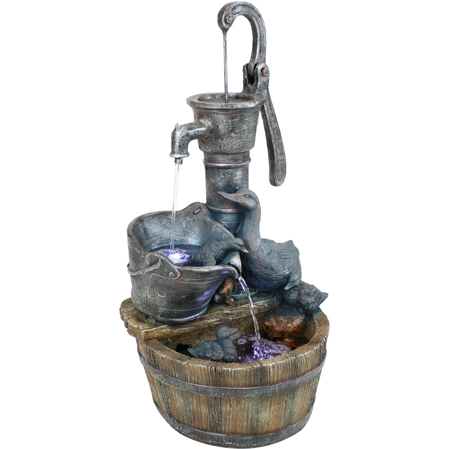 Sunnydaze Splashing Ducks Rustic Pump and Barrel Outdoor Water Fountain with LED Lights, 30-Inch