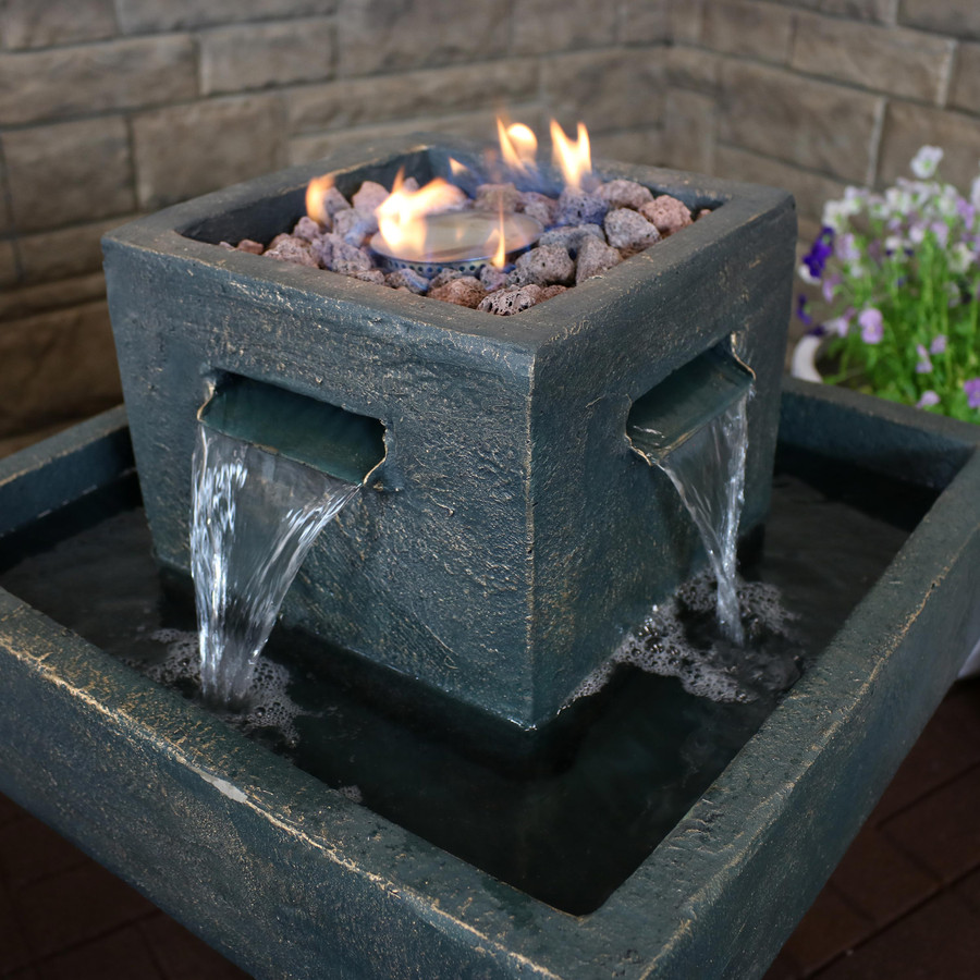 Sunnydaze Flaming Pillar Outdoor Water Fountain Propane Gas Fire Feature, 31-Inch