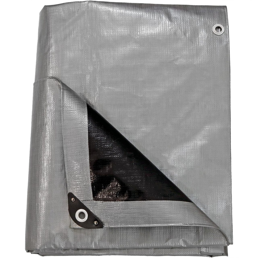 Heavy-Duty Multi-Purpose Waterproof Gray-Black Tarp, Folded Up