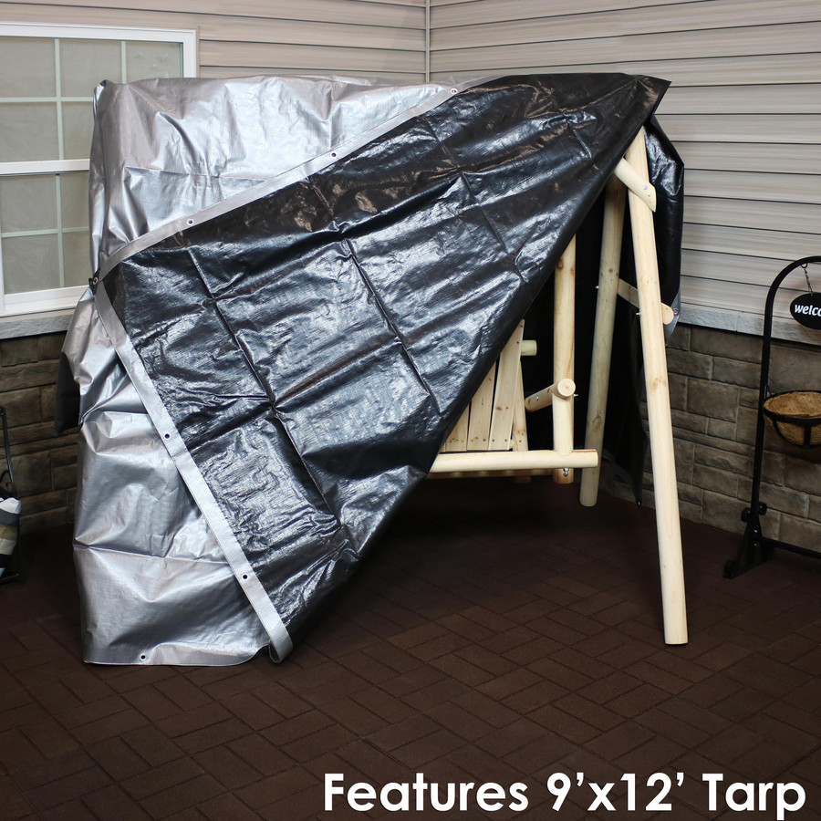 Heavy-Duty Multi-Purpose Waterproof Gray-Black Tarp (9' x 12' Tarp Shown)