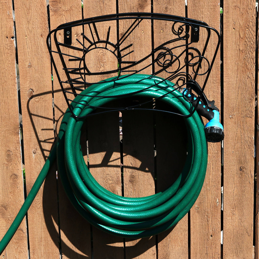 Metal Garden Hose Stand Holder with Decorative Sun and Wind Design, Mounted on Fence (Hose Not Included)