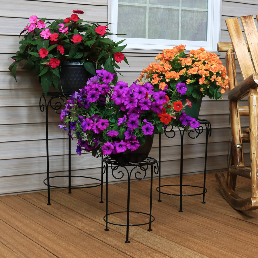 Metal Iron Plant Stand with Scroll Design, Set of 3