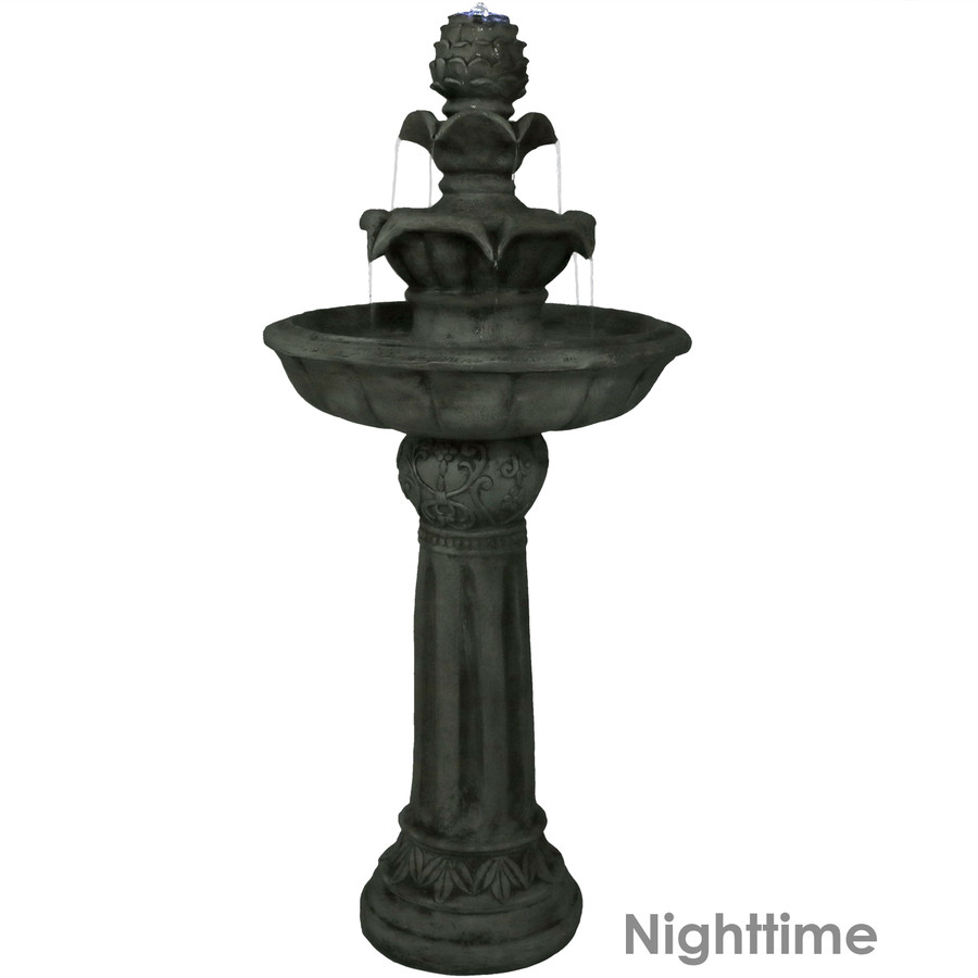 Ornate Elegance Tiered Outdoor Solar-on-Demand Water Fountain, White, Nighttime View