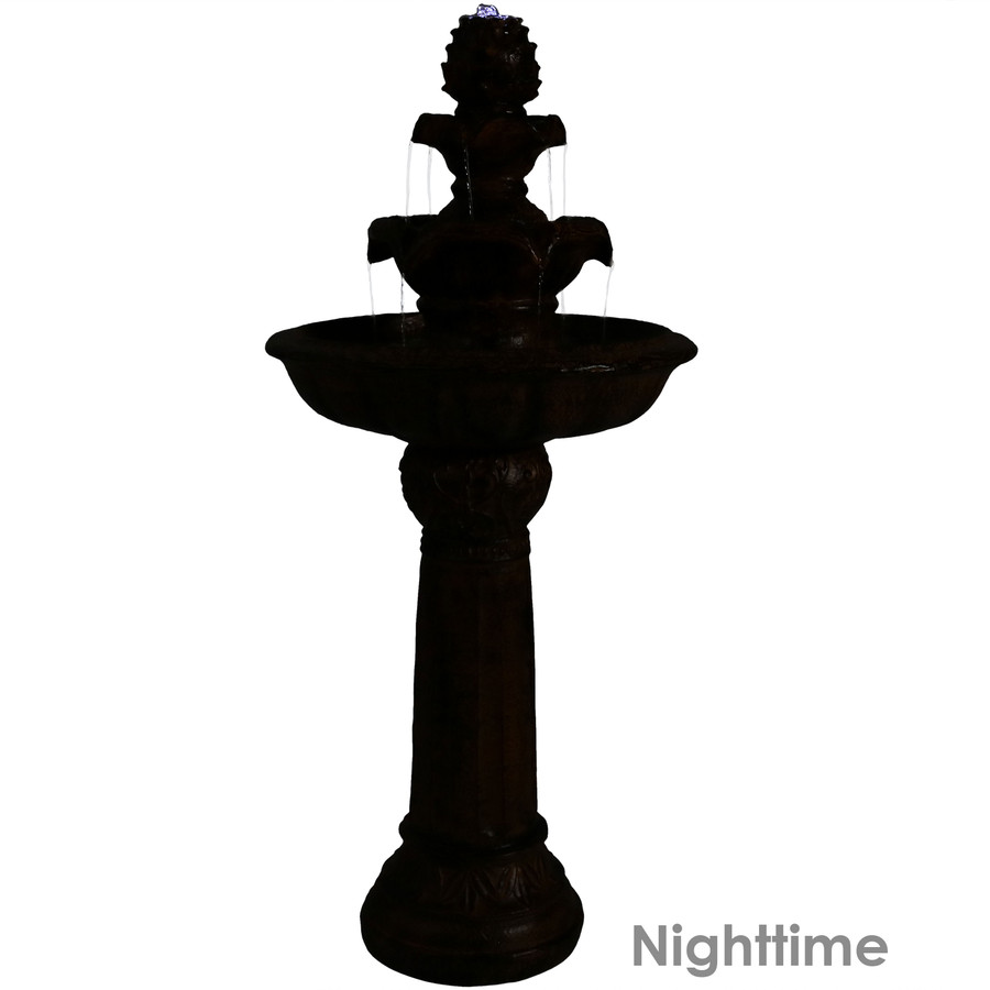 Ornate Elegance Tiered Outdoor Solar-on-Demand Water Fountain, Rustic, Nighttime View