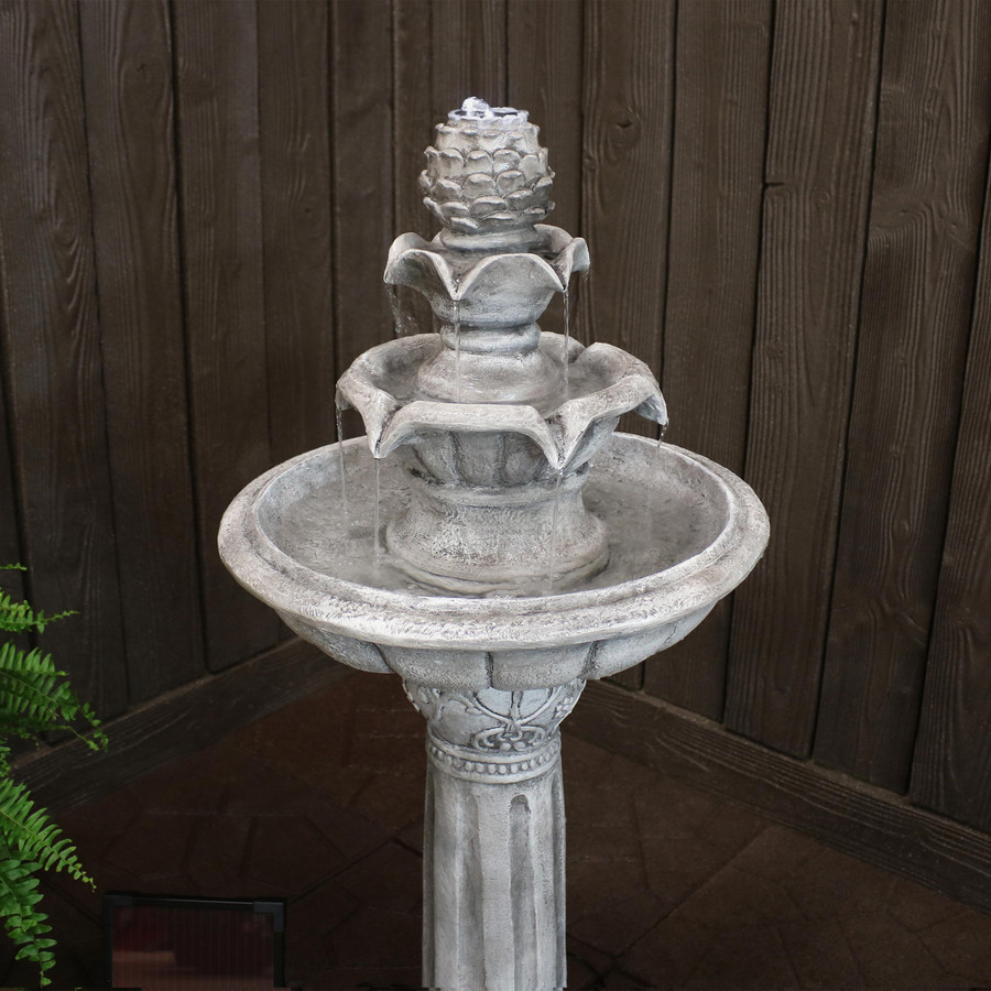 Ornate Elegance Tiered Outdoor Solar-on-Demand Water Fountain with LED Light, White