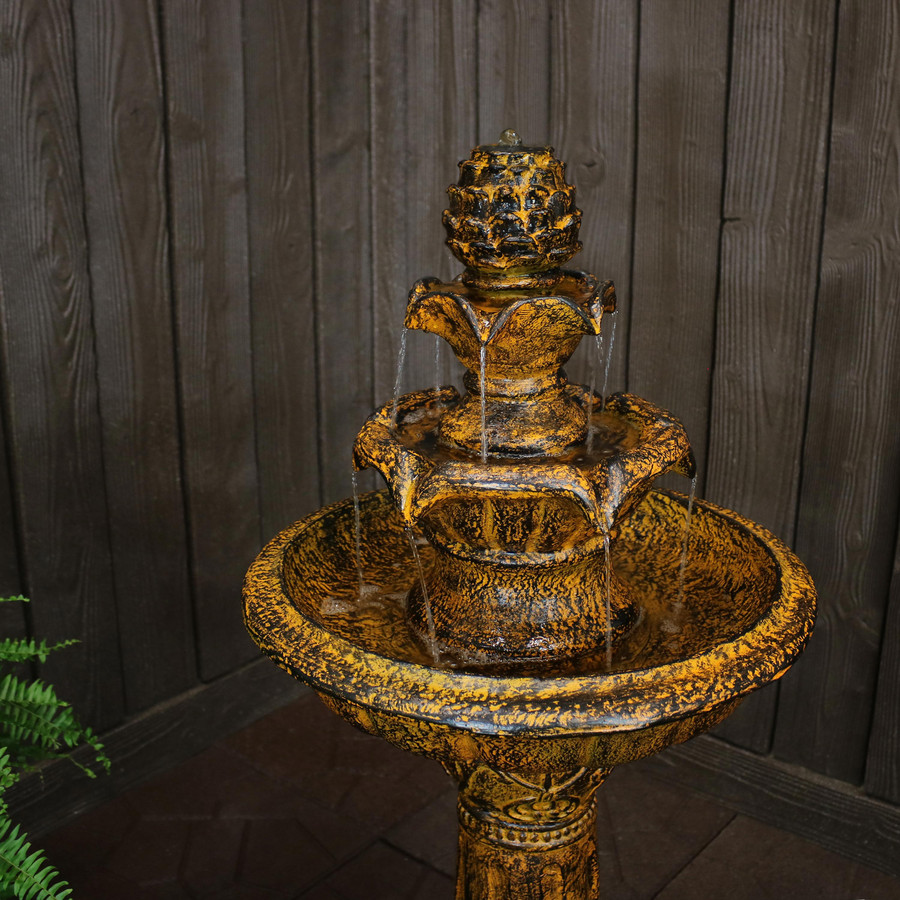 Ornate Elegance Tiered Outdoor Solar-on-Demand Water Fountain with LED Light, Rustic