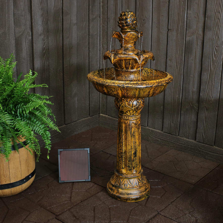 Ornate Elegance Tiered Outdoor Solar-on-Demand Water Fountain, Rustic