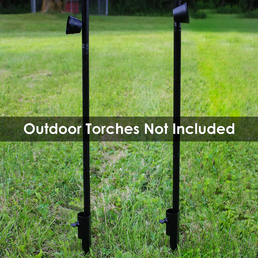 Set of 2 Shown with Torch Poles (Torches Not Included with Stakes)